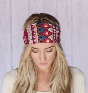 Godbead_Boho_Headband_Red_Aztec_Print_Cotton